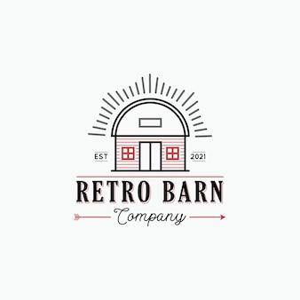 Retro schuur boerderij logo ontwerp concept illustraties met rustieke schuur