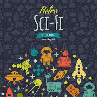 Retro sci-fi achtergrond