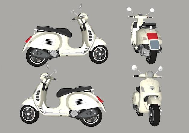 Retro scooter geïsoleerd. snelle bezorging. italiaanse stijl.