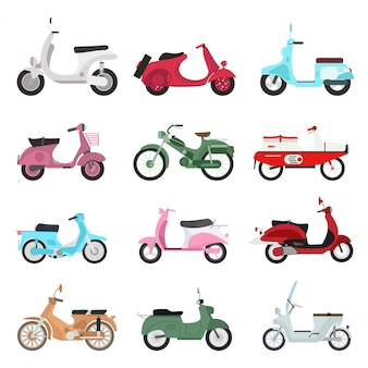 Retro scooter set.