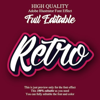 Retro script sticker bewerkbare typografie lettertype effect