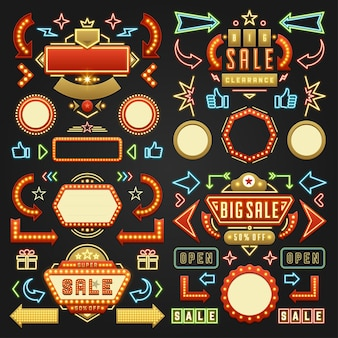 Retro showtime ondertekent elementen aanplakbord signages gloeilampen, neonlampen
