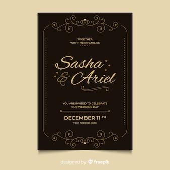 Retro sier bruiloft uitnodiging sjabloon