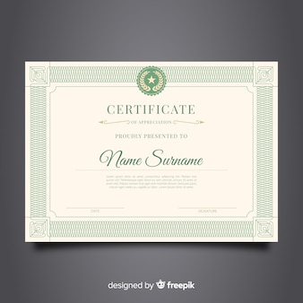 Retro sier certificaat sjabloon concept