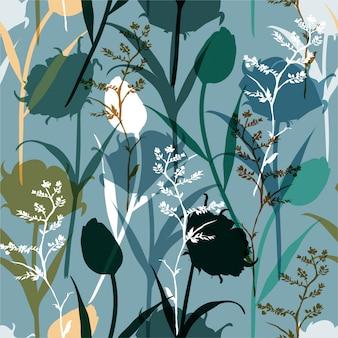 Retro silhouet abstracte naadloze patroon