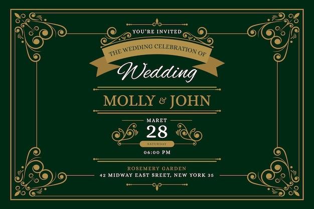 Retro sjabloon bruiloft uitnodiging