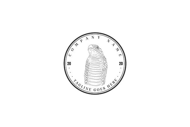 Retro snake king cobra viper black mamba badge label logo design vector