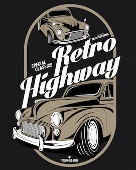 Retro snelweg, super klassieke auto illustratie