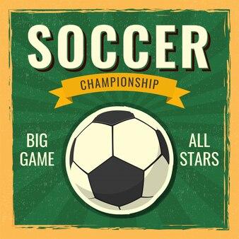 Retro soccer championship-banner of afficheontwerp.