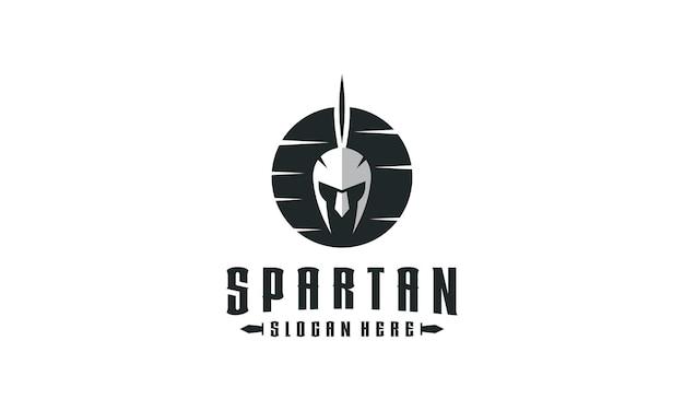 Retro spartaans helm logo-ontwerp