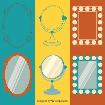 Retro spiegels collectie Gratis Vector