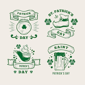 Retro st. patrick's day badge-collectie