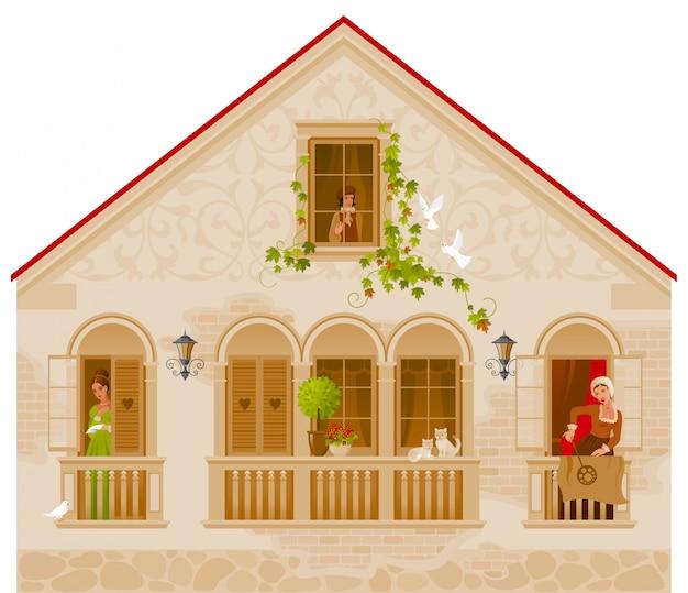 Retro stenen huis met mensen in windows