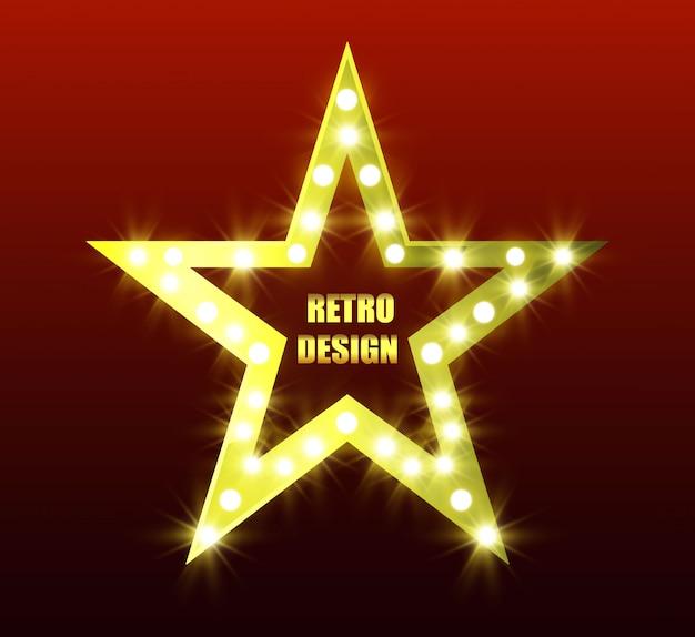 Retro-ster. heldere vijfpuntige ster. gouden ster. ster met zaklampen.