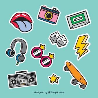Retro stickers met pop art stijl
