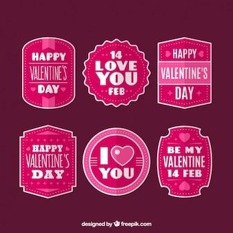 Retro stickers te pakken met berichten van de valentijnskaart