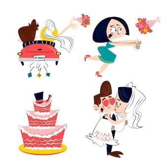 Retro stickers van het cartoonhuwelijk met cake