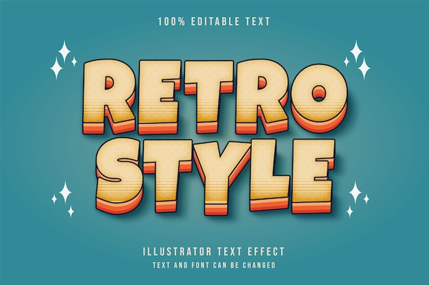 Retro-stijl, bewerkbaar teksteffect crème gradatie geeloranje komische tekststijl