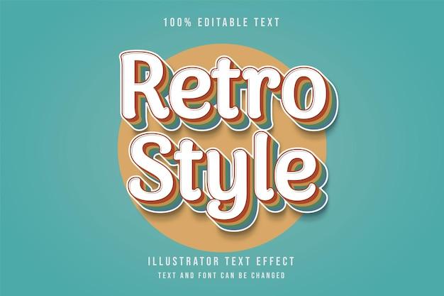 Retro-stijl, bewerkbaar teksteffect rode gradatie geel blauw handschrift tekststijl