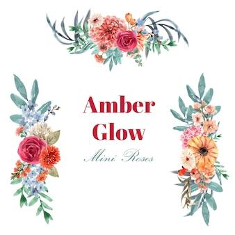 Retro stijl bloemen ember gloed boeket aquarel illustratie.