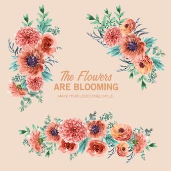 Retro stijl bloemen ember gloed boeket met bloem, verlaat aquarel illustratie.