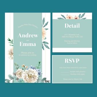 Retro stijl bloemen ember gloed bruiloft kaart met bloemen aquarel illustratie.