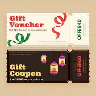 Retro stijl cadeaubon of coupon lay-out met verschillende discoun