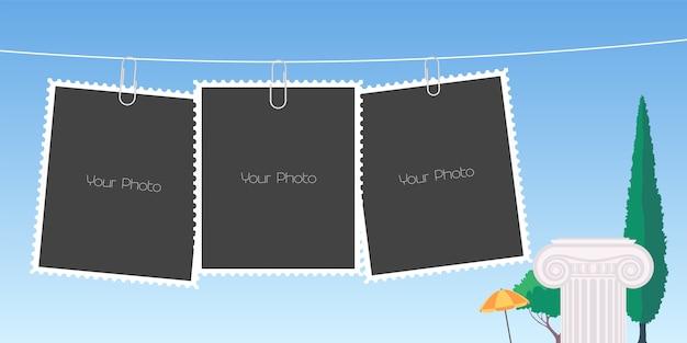 Retro-stijl collage van fotolijsten illustratie