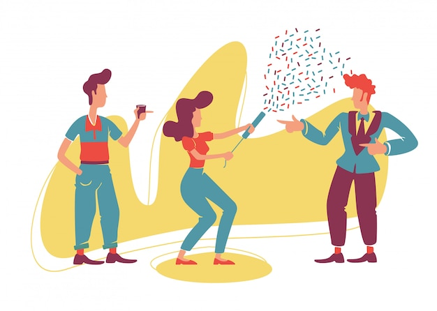 Retro-stijl feest 2d. ouderwetse jongens en aantrekkelijk meisje met platte confetti popper karakters op cartoon achtergrond. vintage disco, prom afdrukbare patches, webelementen