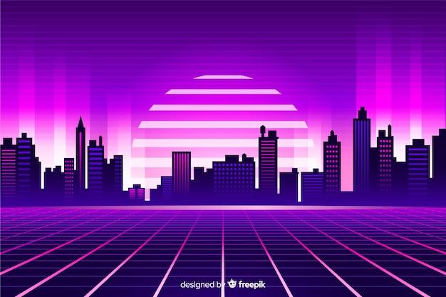 Retro stijl futuristische landschapsachtergrond