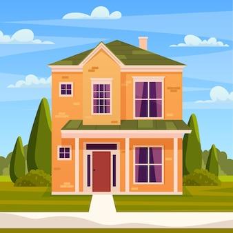 Retro-stijl gebouw. cartoon appartementencomplex op natuur landschap. huis in de voorsteden, woonhuisje, gebouw op het platteland van onroerend goed. vectorillustratie in vlakke stijl