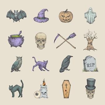 Retro stijl halloween illustraties collectie hand getrokken raven scull kat vleermuis heks hoed en grafsteen schets