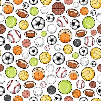 Retro stijl kleurrijke sport ballen naadloze patroon