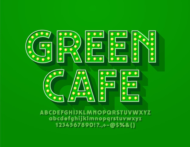 Retro-stijl logo green cafe met retro-stijl lettertype. lamp verlicht alfabetletters en cijfers