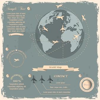 Retro-stijl ontwerp met vliegtuigen en globe