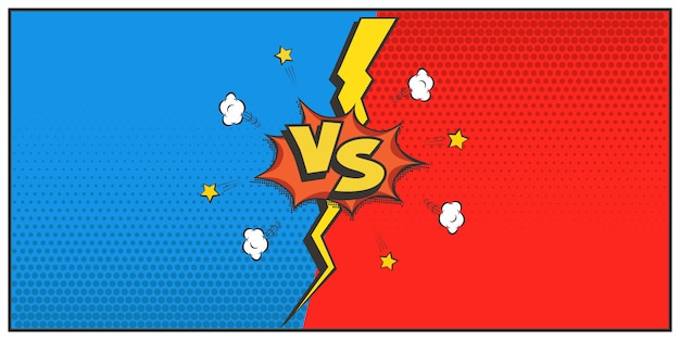 Retro-stijl versus logo, vs-letters. strijd, wedstrijd, duel, competitieconcept. cartoon tekstballon en bliksem