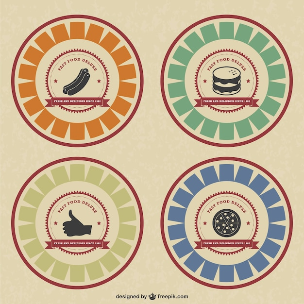 Retro-stijl voedsel badges
