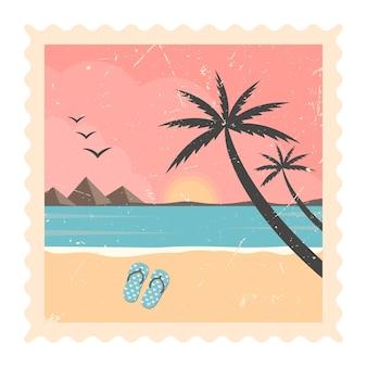 Retro strand zee lijn en zonsondergang - vector tropische palmbomen met kleurrijke landschap background