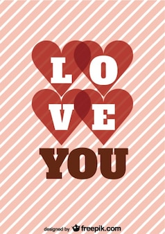 Retro streep liefde bericht kaart ontwerp