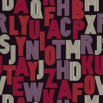 Retro strepen funky fonts naadloos patroon vector ontwerp