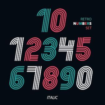 Retro strepen funky nummers settrendy elegant retro-stijl design vector designitalic