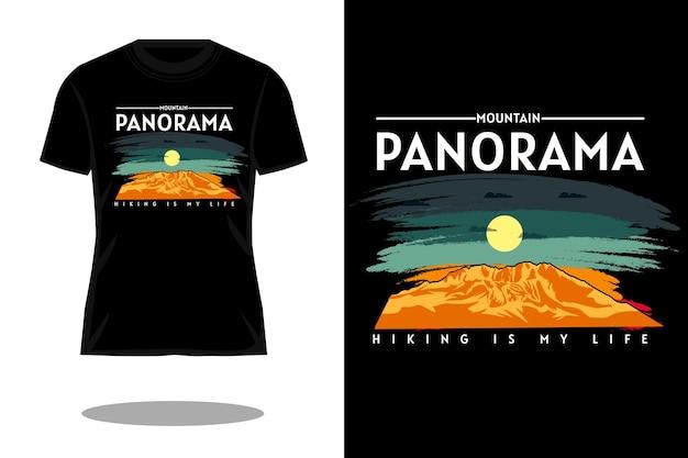 Retro t-shirtontwerp met bergpanorama