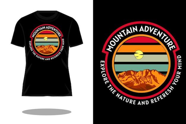 Retro t-shirtontwerp voor bergavontuur