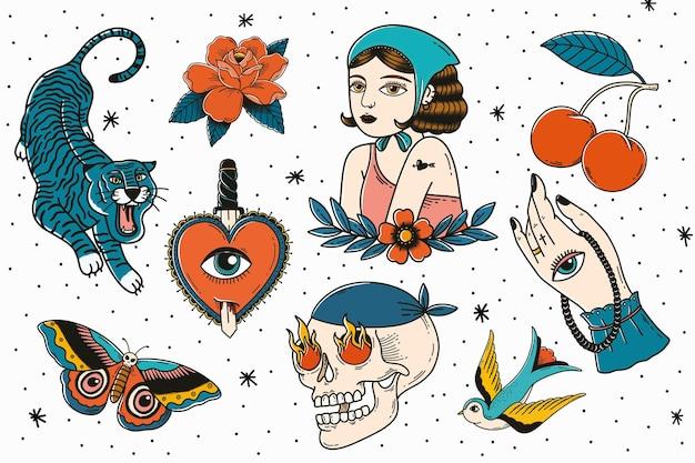 Retro tattoo-ontwerpcollectie