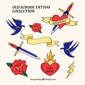Retro tattoo pak met rozen en zwaarden met andere elementen