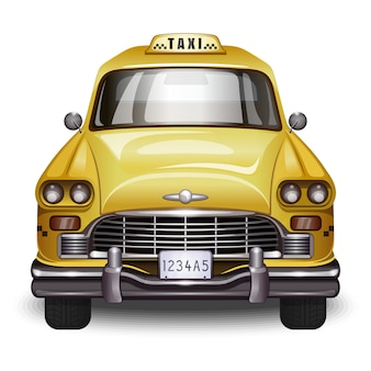 Retro taxi. vintage gele auto met zwart taxiteken.