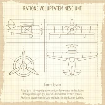 Retro tekening van vliegtuigen