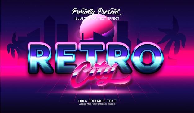 Retro tekststijleffect van de stad. bewerkbaar teksteffect