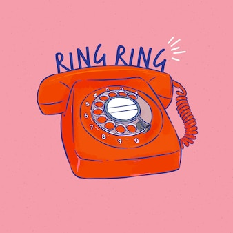 Retro telefoon illustratie