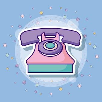 Retro telefoonpictogram met kleurrijke sterren